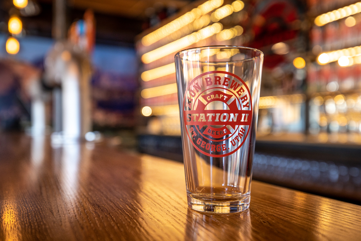 Zion Brewery Station 2 Bar Glass Pic